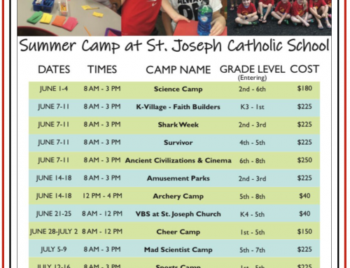 Summer 2021 Camps at St. Joseph Catholic School
